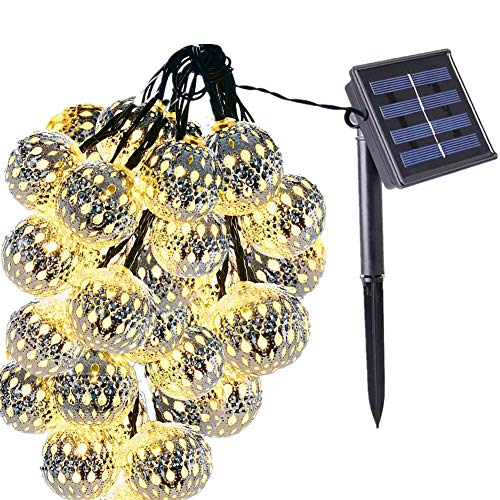 Mixtooltoys Solar Globe String Lights 20 LED LED Fairy String Lights Moroccan Ball Starry Lights Warm White for Tree Ornaments Outdoor Decoration Fences Gardens Home Weddings Party