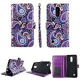Purple Paisley Wallet Folio Case for LG K10 2017 (5.3'') / LG K20 Plus/LG K20 V/LG Harmony/LG Grace / LV5 Fashion Flip PU Leather Cover Card Cash Slots & Stand