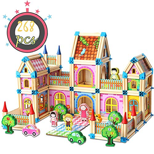 ZornRC Wooden Building Blocks Set,3D Wooden Assembled Toy for Kids Children Men Preschool Boys and Girls DIY Construction Educational Tile Toys(268 Pcs)