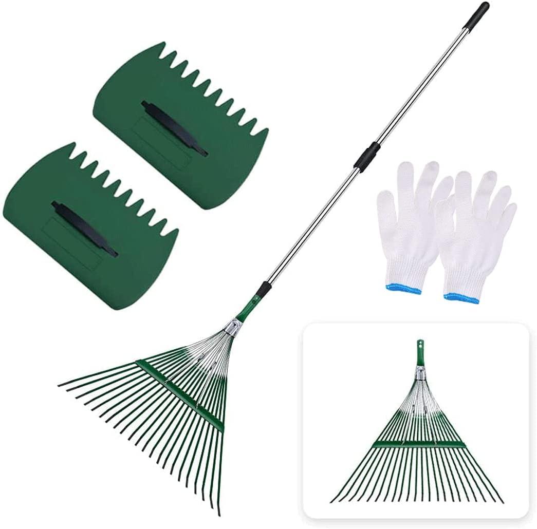 Fashion SIEPUNK Max 87% OFF Garden Leaf Rake Gard Adjustable 47.2