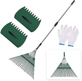 "SIEPUNK Garden Leaf Rake,47.2""-64.6"" Adjustable Lightweight Garden Rake with Leaf Clip for Quick Clean Up of Lawn and Yar..."