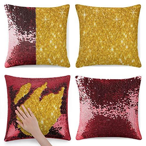 Funda de almohada brillante con purpurina de oro brillante rojo
