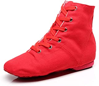 YOYODANCE Soho Canvas Lace-up Dance Shoes Flat Practice Black Red Jazz Dancing Boots for Men Women