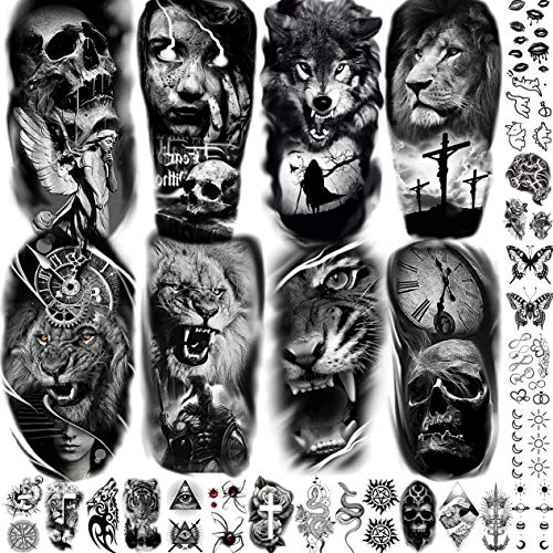 28 Feuilles Geweir Réalistes Tatouages Ephemere Noir Homme Bras Femme Lion Croix Tigre Punk Crâne, Halloween Tribal 3D Faux Autocollants Tatouage Temporaire Adulte Enfant Serpent Loup Guerrier Cuisse