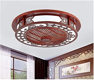Ceiling Fan Light Chinese Style Solid Wood Living Room Dining Room Bedroom Study Ceiling Fan Light Chinese Style Hollow Dr...
