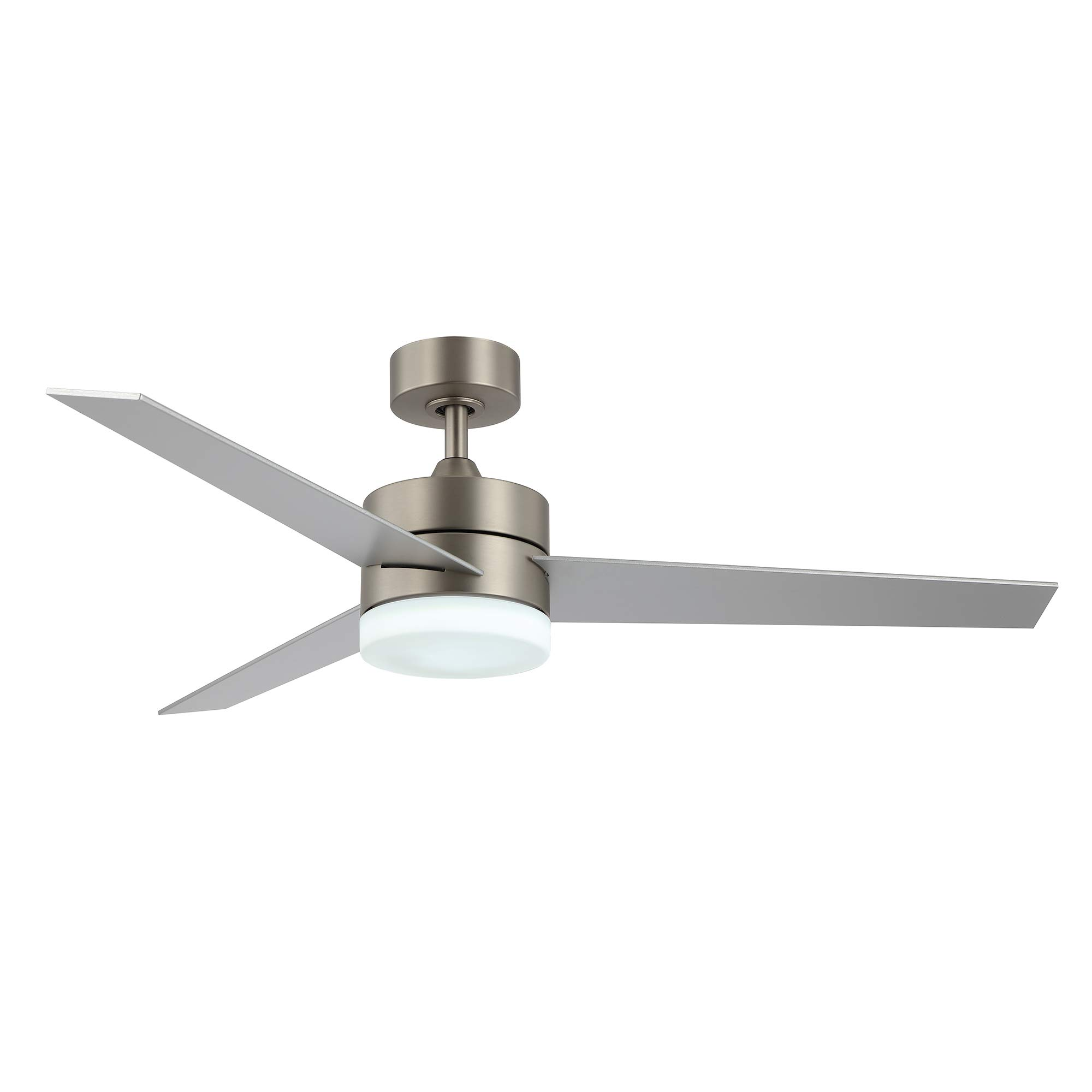Amazon Com Wingbo 52 Modern Ceiling Fan With Lights And Remote Control Contemporary Ceiling Fan Brushed Nickel 3 Reversible Blades Indoor Led Ceiling Fan For Kitchen Bedroom Living Room Etl Listed Kitchen