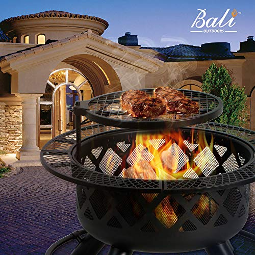 BALI OUTDOORS Wood Burning Fire Pit Backyard with Cooking Grill, 32in, Black, 24in