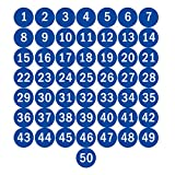 NAVADEAL 2' Blue Round Number 1-50 Adhesive Stickers Identify Inventory Storage Labels - Great for Organizing, Perfect to Mark Bins or Toolbox for Daily Use in School, Office, Workshop