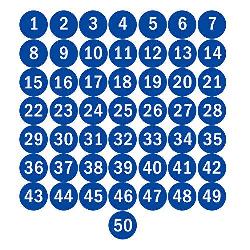 NAVAdeal - Pegatinas adhesivas (5 cm), diseño de número 1 a 50, color azul
