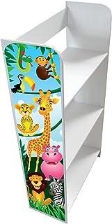 Leomark Estantería de Madera para Niños, Blanca 'Animales de la Selva', Tres Estantes, Altura 90cm, Librero para Dormitorio