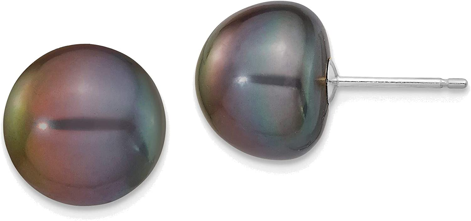 14kt White Gold 10-11mm Black Button Freshwater Cultured Pearl Stud Post Earrings