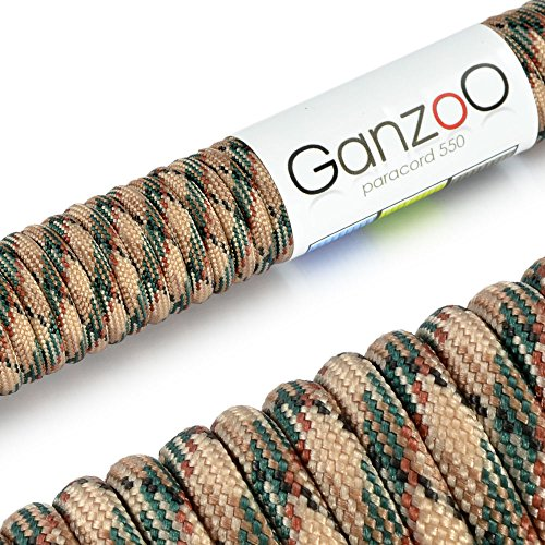 Ganzoo 'Universal Survival Rope Made of Tear-Resistant Parachute Cord/Paracord 550 Core Rope Nylon, 550lbs, Total Length 31 Meters (100 ft) Color: Camouflage - Brand by