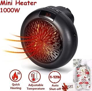 Mini Heater Estufa Eléctrica Portátil de Bajo Consumo 1000 W con Enchufe Eléctrico, Ajustable de 15 a 32 °, Ideal para Hogar Oficina BañO (Negro)