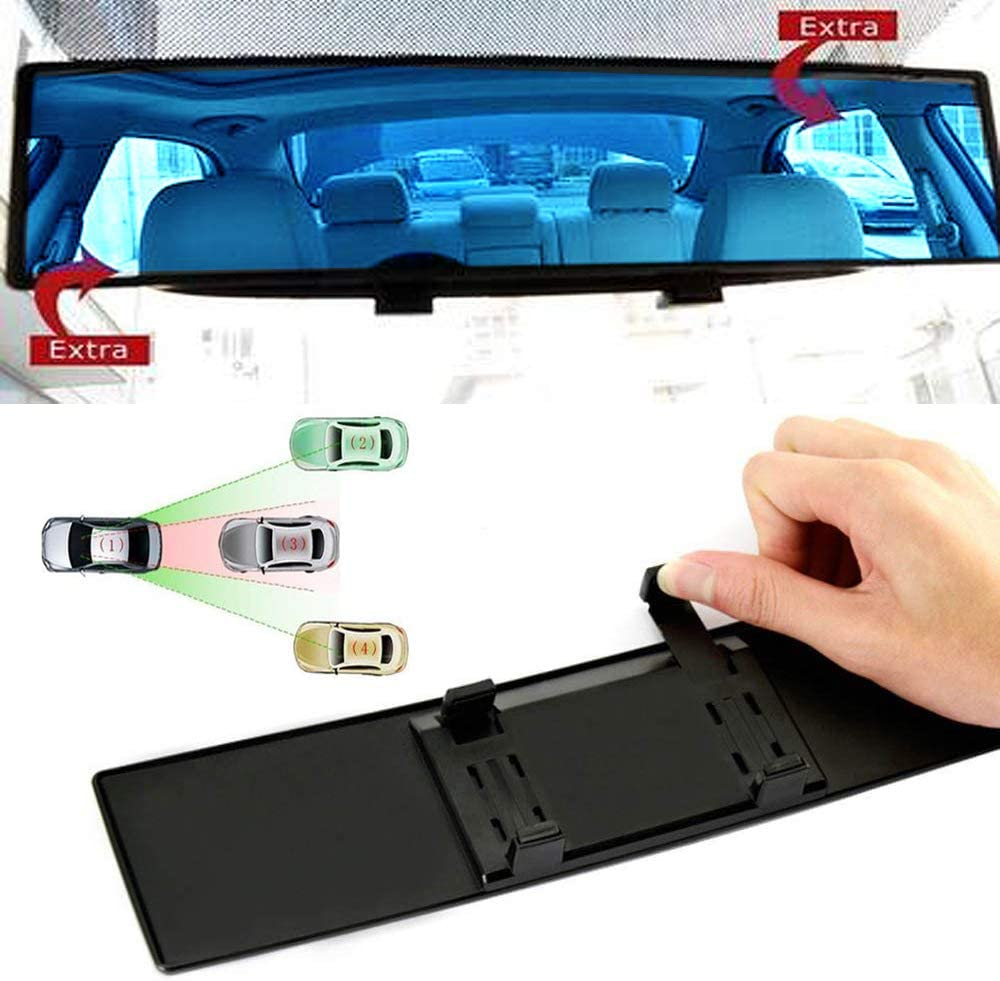 ICBEAMER 15.8 400mm Easy Clip on Wide Angle Panoramic Blind Spot Fit Auto Interior Rearview Mirror Convex Blue Surface