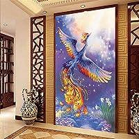 ナンバーキットによるDIYフェニックス5Dダイヤモンド絵画フルドリルラインストーン刺繡壁の装飾(50X90cm)