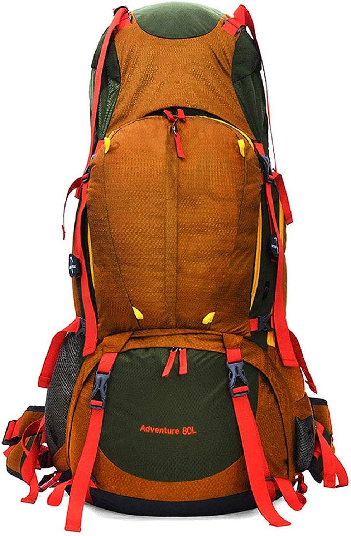 HWYD Camping Rucksack 80L Wasserdicht Geeignet für Menand Frauen Skifahren Outdoor Trekking Reisen Klettern Bergsteigen,Gelb