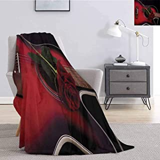 Red and Black Faux Fleece Throw Blanket Spanish Musician Portugal Guitar with Romance Theme Love Valentines Rose Lightweight Life Comfort Blanket W70 x L84 Inch Ruby and White