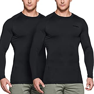CQR Men's (Pack of 2) Cool Dry Fit Long/Short/Sleeveless Tactical Compression Shirts, Athletic Workout T-Shirt, Active Mil...