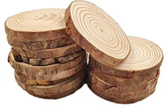 """MUPIANLX Natural Wood Slices with Tree Bark Unfinished Round Wooden Discs for Crafts Coasters DIY Ornaments,15pcs 3.5""""-4"""""""