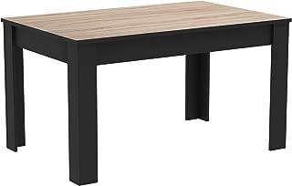 Demeyere Wayne Table de Salle à Manger Style Industriel 4 à 6 Personnes, Panneau de Particules, en Bois Chêne brossé/Noir ...