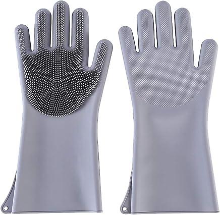 CUHAWUDBA Gummi-Handschuhe mit langen /Ärmeln f/ür den Geschirrsp/üler 1 Paar h/ält warm Haushalt Gummi-Handschuhe Reinigung gr/üner chinesischer Stil