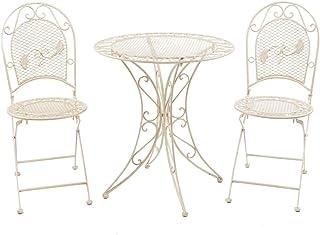 aubaho Muebles de jardín Conjunto jardín Mesa de Mesa y 2 sillas de Metal Estilo