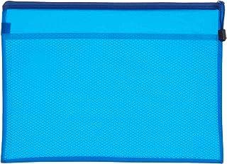 حافظة ملفات قماش بسوستة، A4 - ازرق