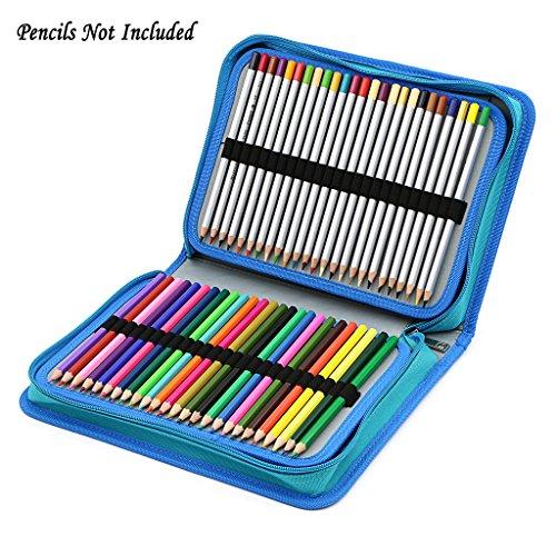 BTSKY New 150 Slots Pencil Case-Canvas Zipper Pencil Holder for Colored Pencils (Blue)