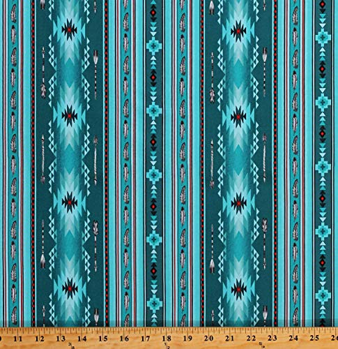 Cotton Southwestern Stripe Arrows Feathers Native American Aztec Tribal Designs Native Spirit Turquoise Cotton Fabric Print by The Yard (D462.45)