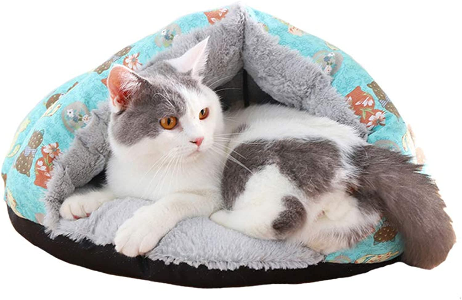Pet house Cat nest Semiclosed type Cat sleeping bag Pet nest Pet mat pet bed Thicken Keep warm Four seasons available (color   A)