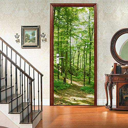 PVC Door Sticker-Sunny Bamboo Forest-3D Decal Vinyl Mural Art Self Adhesive Contact Paper Peel and Stick Removable Waterproof Wallpaper 77x200cm