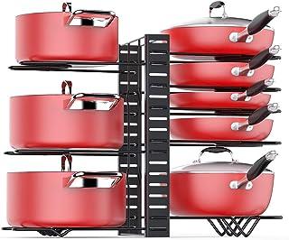 ChangMi Organizador de ollas para gabinete con 3 métodos de Bricolaje Organizador de ollas Ajustable con 8 estantes de Me...