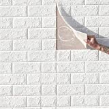 jxgzyy 10 PCS Self Adhesive Foam Wall Paper, 58sq.ft 3D Brick Textured Wall,Water-Proof Foam Wallpaper,PE Foam Wall Panels for Bedroom Living Room Background TV Decor,White
