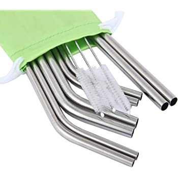 """Mcool 8Pcs 4 Smoothies 9.5"""" Wide Straws 4 Skinny Stainless Steel Straws for Yeti/Rtic/Ozark-8 Metal Smoothies Straws for 30&20 oz Tumblers+3 Brushes+1 Green Storage Pouch"""