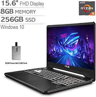 "2020 ASUS TUF 15.6"" FHD LCD Gaming Laptop Computer, AMD Ryzen 5-3550H, 8GB RAM, 256GB PCIe SSD, Backlit Keyboard, GeForce GTX 1650 Graphics, DTS Audio, Webcam, Win 10, Black, 32GB Snow Bell USB Card"