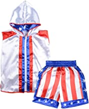 Short Tracksuit with Hood Sleeveless Boxing Ring Jacket Trunks Outfit Fight Wear Sport Suit
