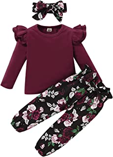 YALLET 3Pcs Toddler Girl Clothes,Solid Color Long Sleeves Ruffle Top+ Floral Pant +Floral Headband Red