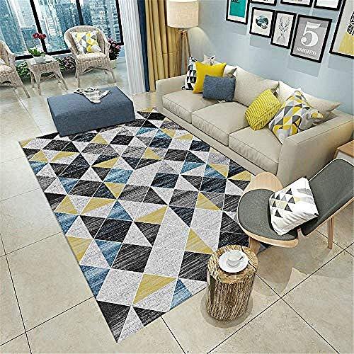 WKITCHENMAT Home Tapis Moderne Antidérapant Artificiel la Laine Triangle Gris Bleu Jaune 11MM Chambre Coussin d