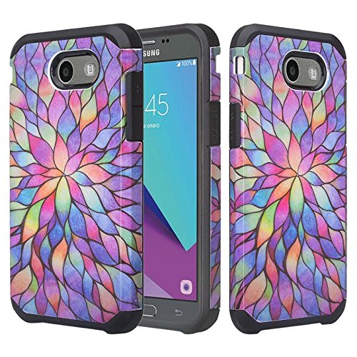 Galaxy J3 Luna Pro Case,J3 Prime Case,Galaxy J3 Eclipse Case,Galaxy J3 Emerge,Amp Prime 2,Express Prime 2,Sol 2,J3 Mission Shock Proof Phone Case Compatible for Samsung J3 2017, Rainbow Flower