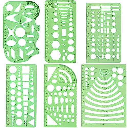 CCMART Set aus 6 Kunststoff-Schablonen mit geometrischen Formen, zum Maßnehmen, für Büro und Schule, Rahmenwerk zum Bauen, Schablone für Zeichnungen und Entwürfe, transparente grüne Farbe