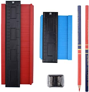 "EWONICE Contour Gauge Tool Kit, 5"" and 10"" Deluxe Contour Gauge Shape Duplicator Marking Tools with 2Pc Pencils and 1Pc Pe..."
