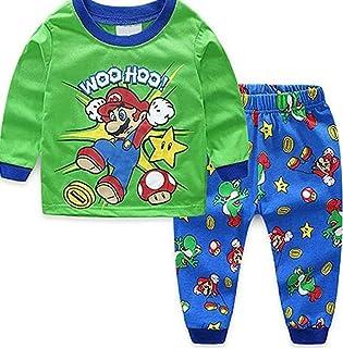 Proxiceen Super Mario Ensemble de pyjamas pour bébé garçon Motif animal de dessin animé Tom Cat Spiderman Garfield Winnie ...