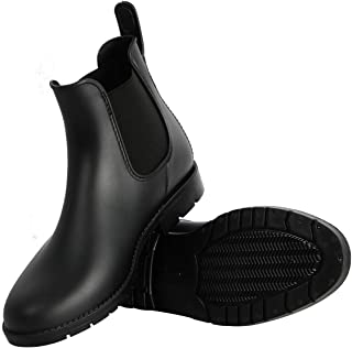 Women's Short Rain Boots Waterproof Slip On Ankle Chelsea Footwear