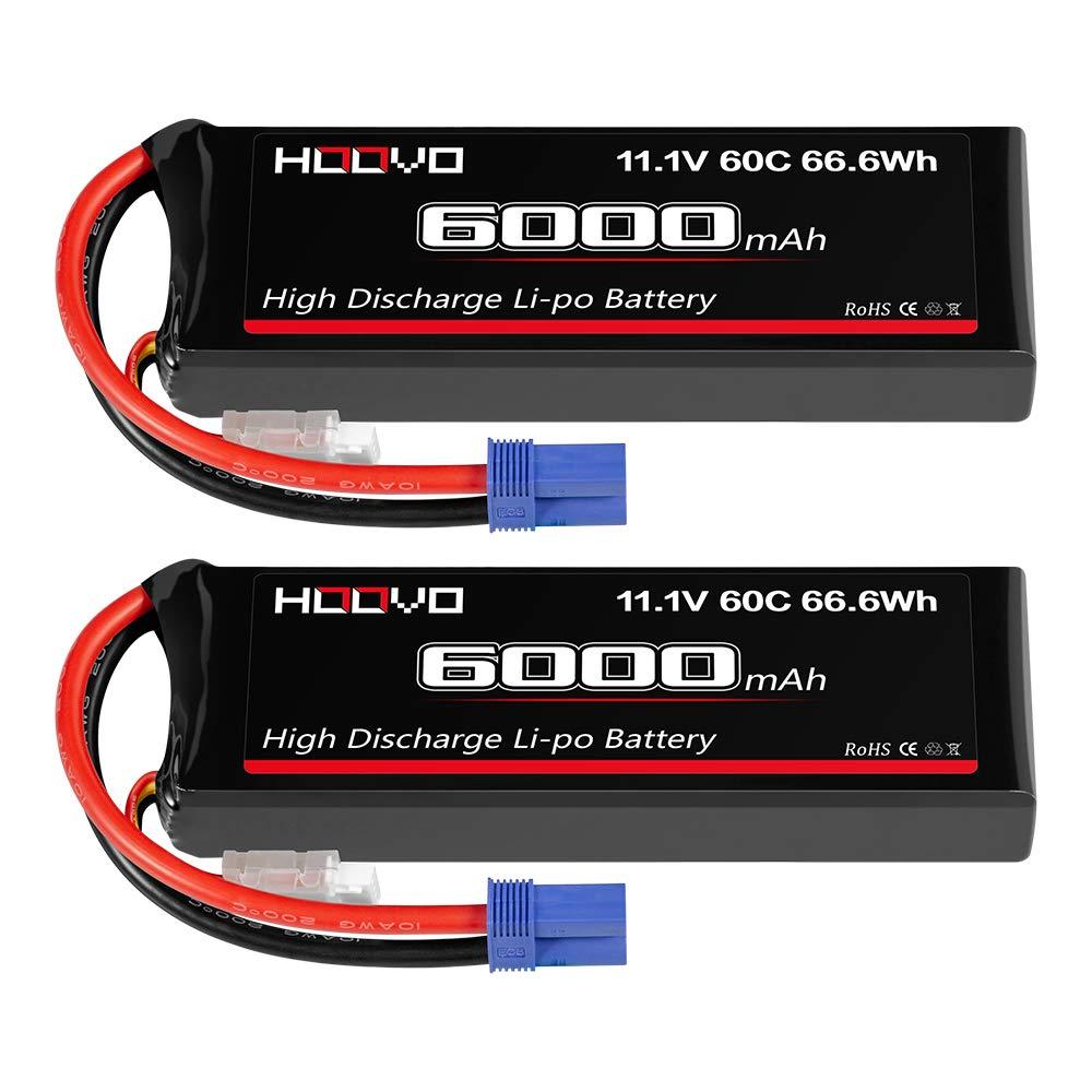 2 Baterias LIPO 11.1V 6000mah 60C 3S T Plug HOOVO