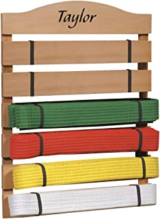Fox Valley Traders Personalized Karate Belt Rack – Martial Arts Belt Display Wooden Holder