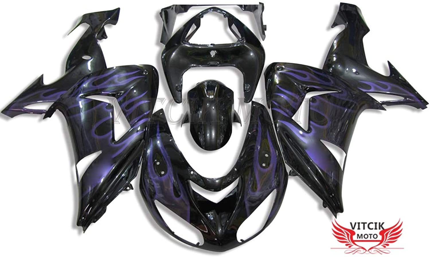 VITCIK (Fairing Kits Fit for Kawasaki ZX10R ZX10R Ninja 2006 2007 ZX10R ZX10R Ninja 06 07) Plastic ABS Injection Mold Complete Motorcycle Body Aftermarket Bodywork Frame (Black & Purple) A020