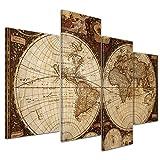 Impression d'art - Mappemonde Vintage - Image sur Toile - 120x80 cm 4 pcs - Toile Photos - Murale de BildTerrepot24 - Urbain & Graphique - Terre - Représentation Historique