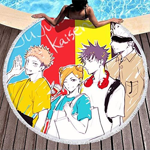 Hothotvery Toallas de playa redondas con borlas Anime Jujutsu Kaisen multicolor estampado ligero toalla de playa para niñas blanca 150 cm