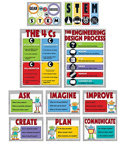 Carson Dellosa Educational STEM Bulletin Board Set—The Engineering Design Process and 4 Cs of STEM Problem-Solving and Critical Thinking Skills Charts 10 pc
