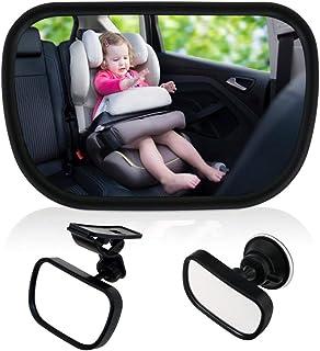 Bebé Espejo Retrovisor para Vigilar al Bebé en Coche, 360°Ajustable Espejo con Clip y con Ventosa, Inastillable Espejo Coche,Espejo de seguridad para niños